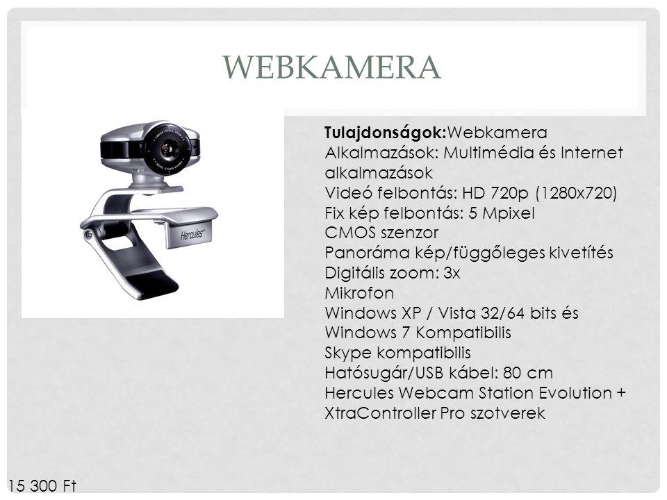 Webkamera Tulajdonságok:Webkamera