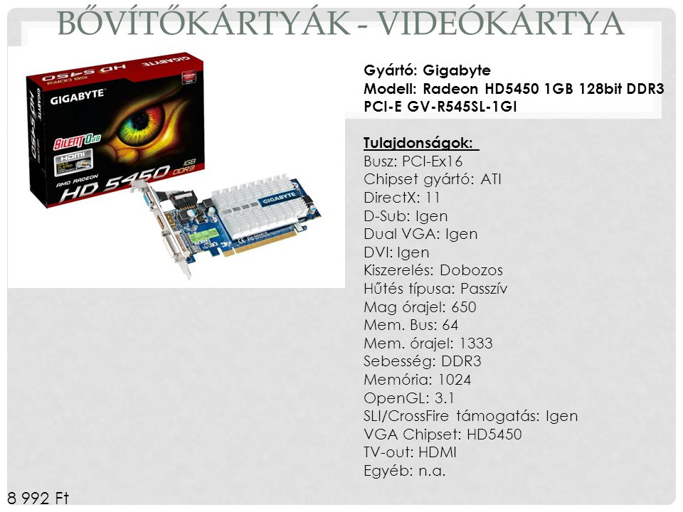 Bővítőkártyák - Videókártya