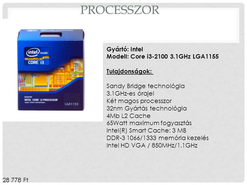Processzor Gyártó: Intel Modell: Core i3-2100 3.1GHz LGA1155 Tulajdonságok: Sandy Bridge technológia.