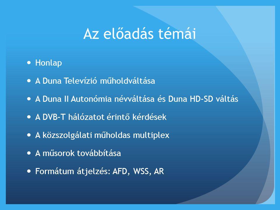 Az előadás témái Honlap A Duna Televízió műholdváltása