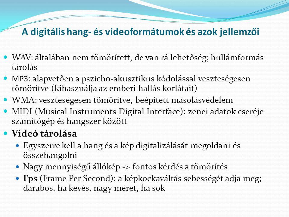 A digitális hang- és videoformátumok és azok jellemzői