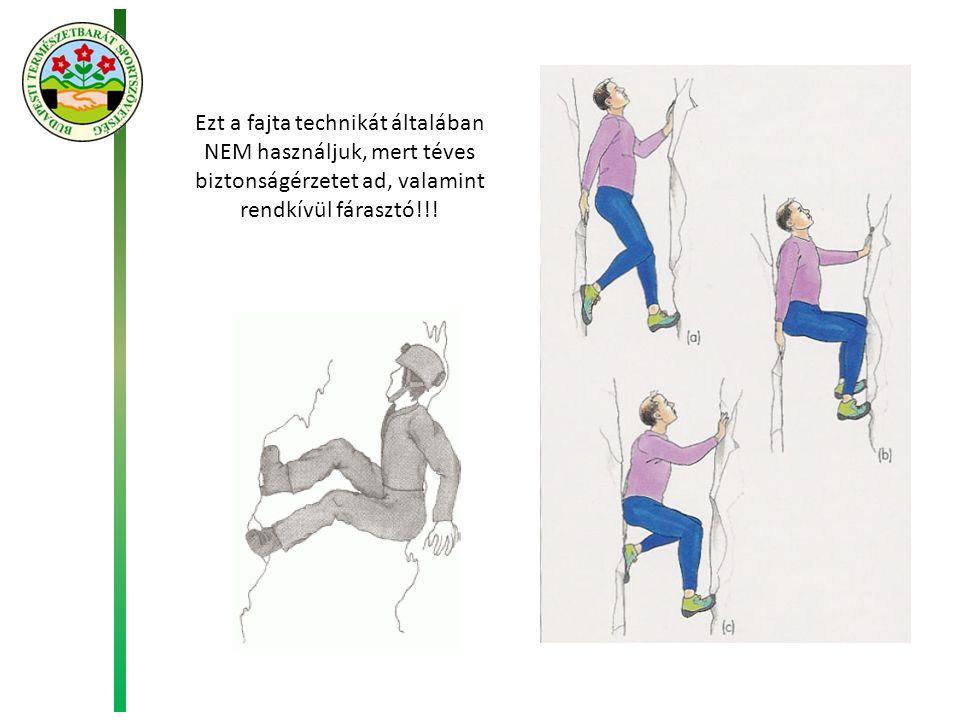 Ezt a fajta technikát általában NEM használjuk, mert téves biztonságérzetet ad, valamint rendkívül fárasztó!!!