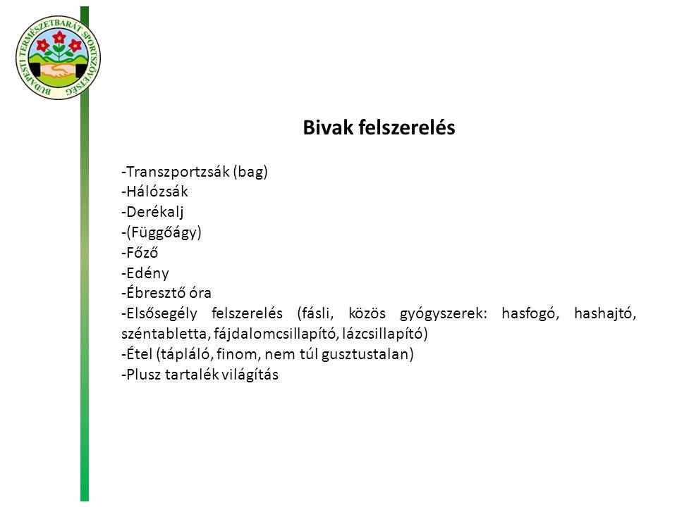 Bivak felszerelés Transzportzsák (bag) Hálózsák Derékalj (Függőágy)