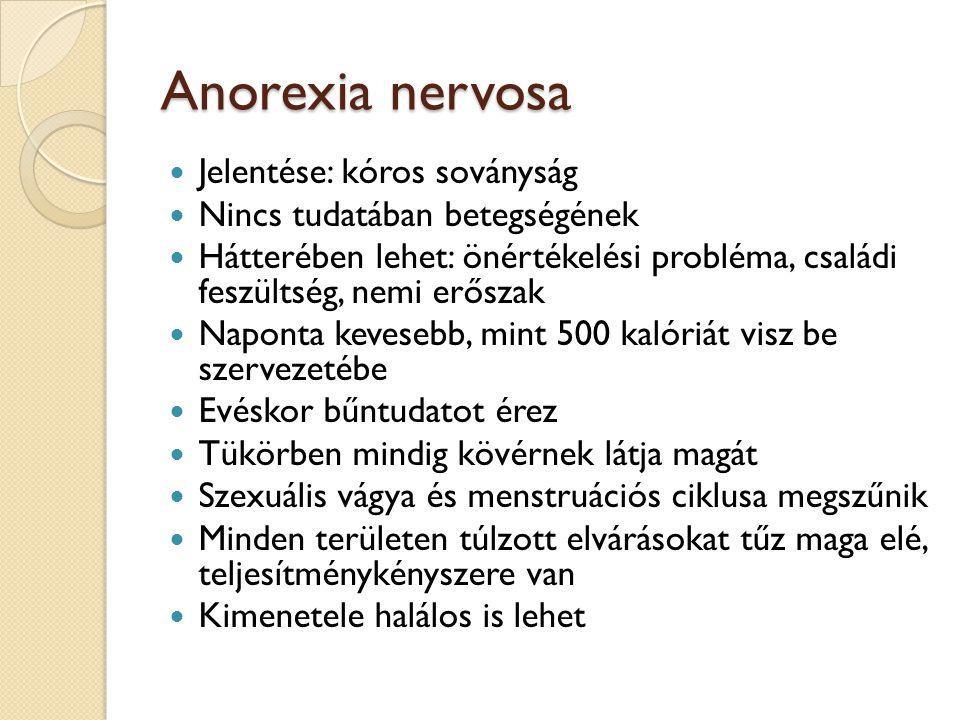 Anorexia nervosa Jelentése: kóros soványság