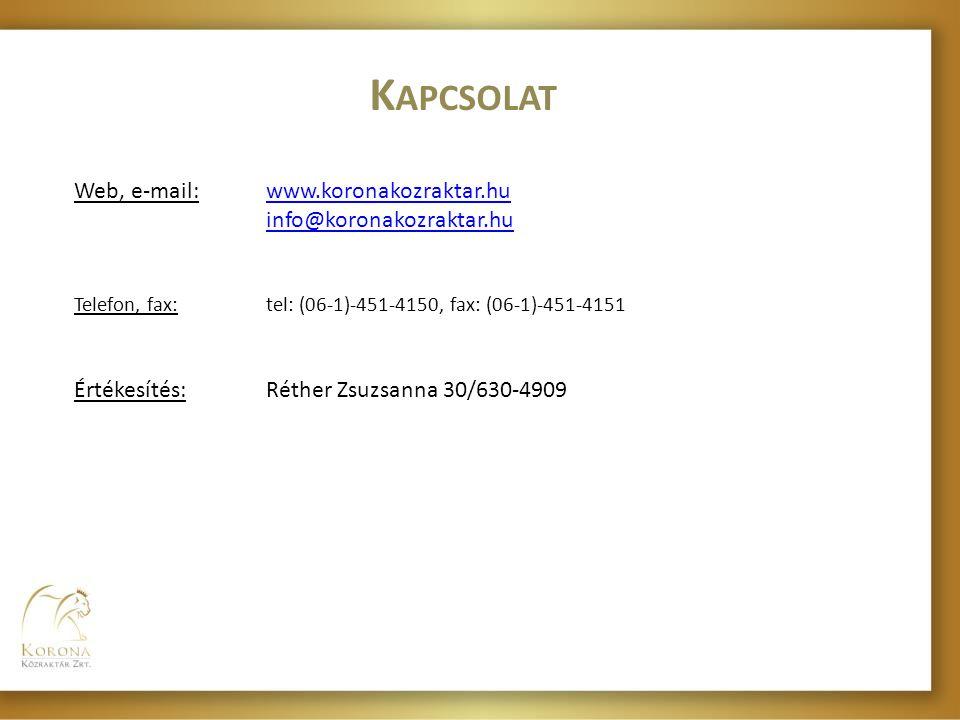 Kapcsolat Web, e-mail: www.koronakozraktar.hu info@koronakozraktar.hu