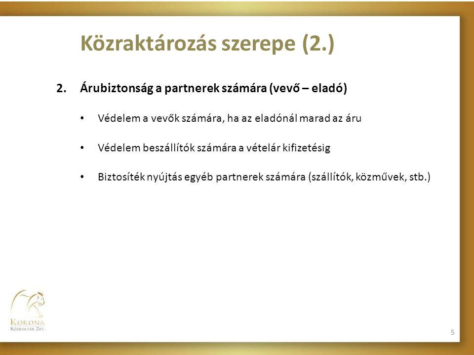 Közraktározás szerepe (2.)