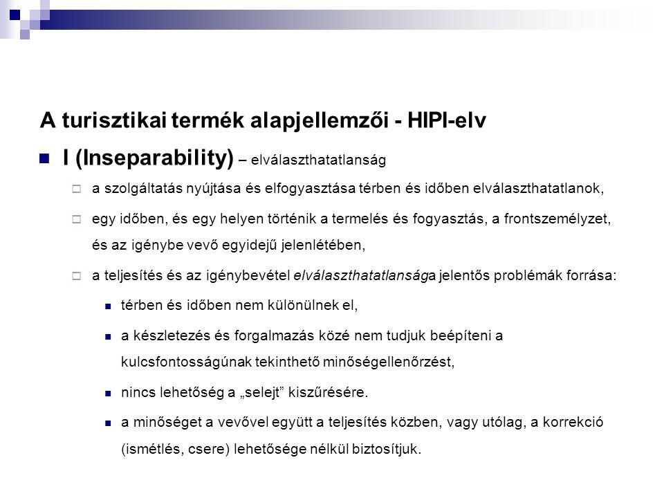 A turisztikai termék alapjellemzői - HIPI-elv