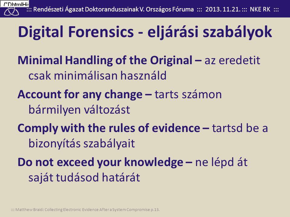 Digital Forensics - eljárási szabályok
