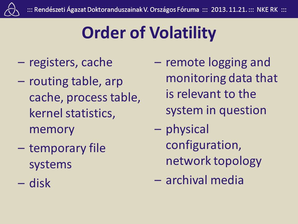 Order of Volatility registers, cache