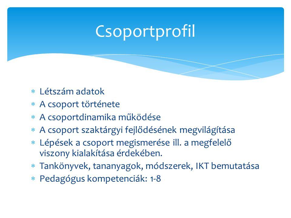 Csoportprofil Létszám adatok A csoport története