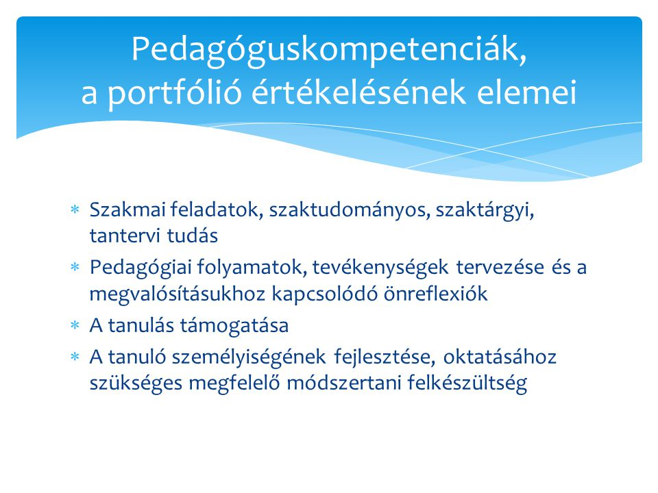 Pedagóguskompetenciák, a portfólió értékelésének elemei