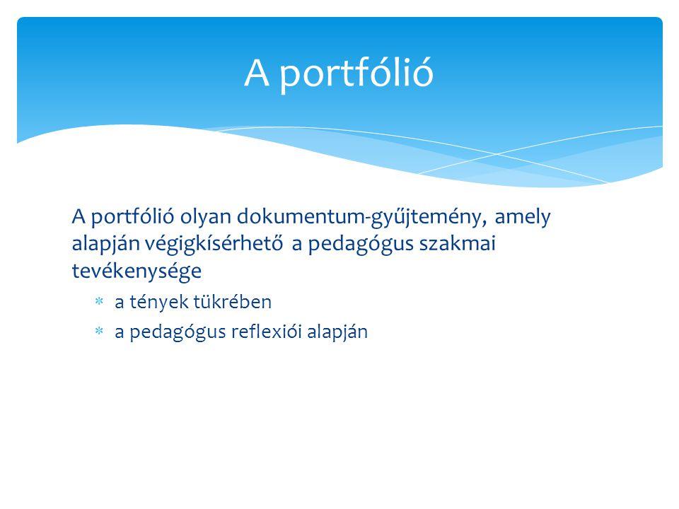 A portfólió A portfólió olyan dokumentum-gyűjtemény, amely alapján végigkísérhető a pedagógus szakmai tevékenysége.