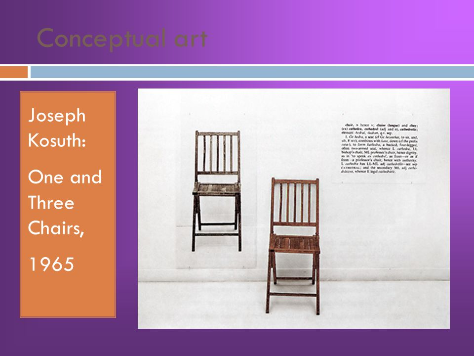 Conceptual art Joseph Kosuth: One and Three Chairs, 1965