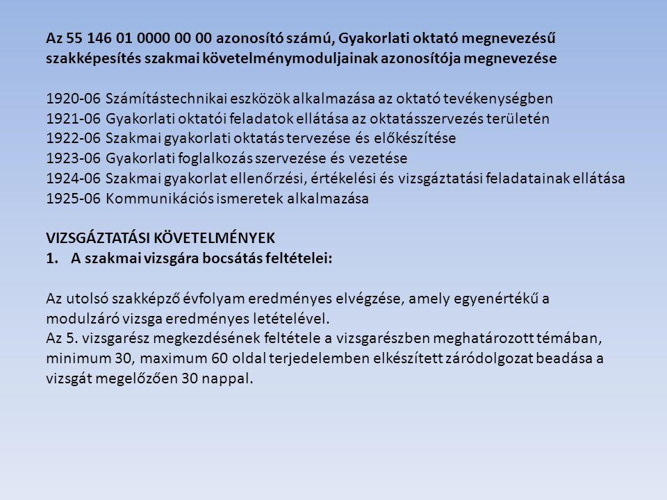 Az 55 146 01 0000 00 00 azonosító számú, Gyakorlati oktató megnevezésű szakképesítés szakmai követelménymoduljainak azonosítója megnevezése