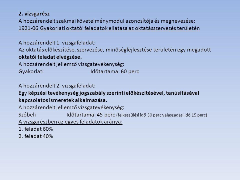 2. vizsgarész A hozzárendelt szakmai követelménymodul azonosítója és megnevezése: