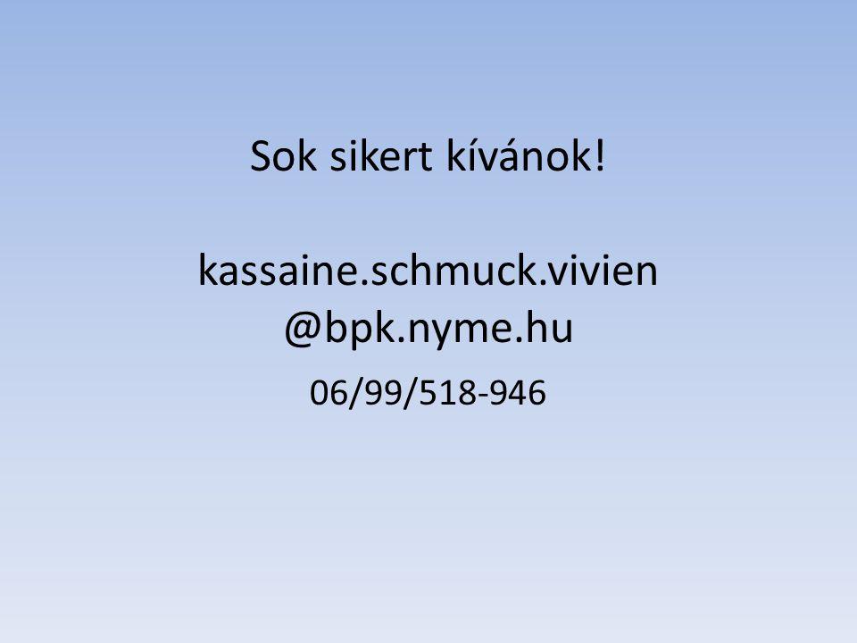 Sok sikert kívánok! kassaine.schmuck.vivien @bpk.nyme.hu