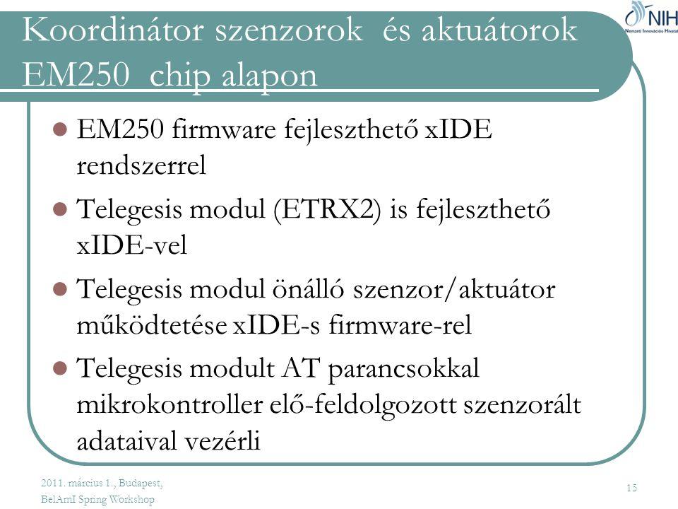 Koordinátor szenzorok és aktuátorok EM250 chip alapon