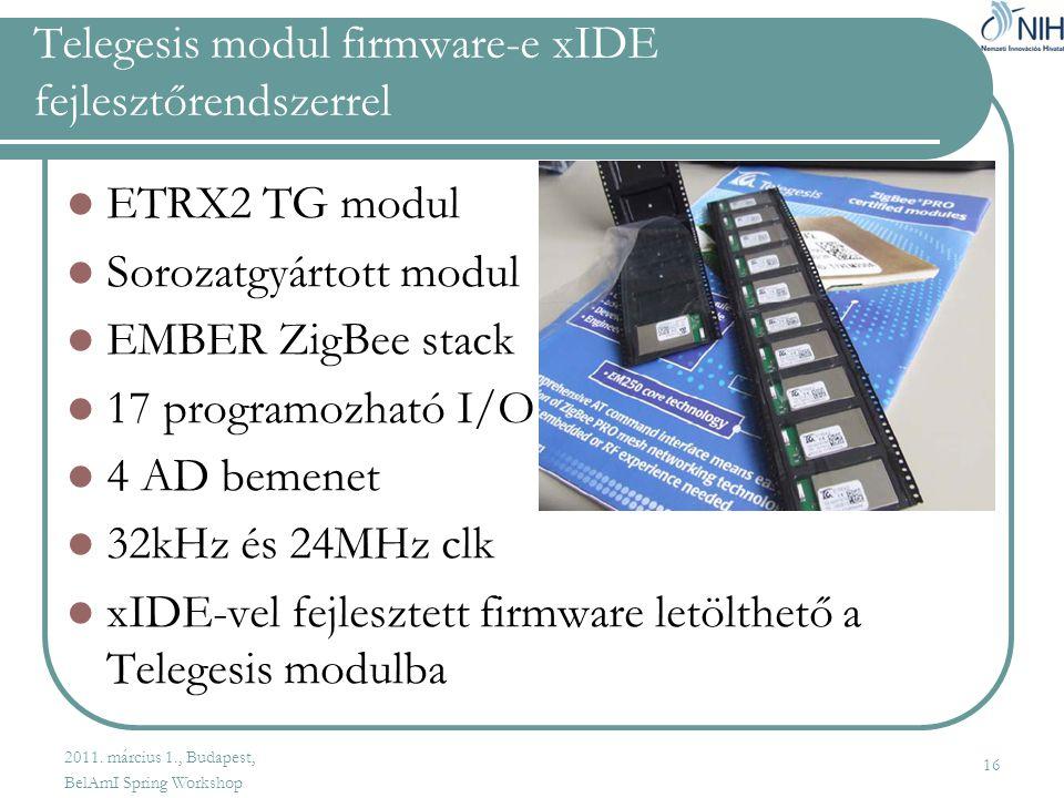 Telegesis modul firmware-e xIDE fejlesztőrendszerrel