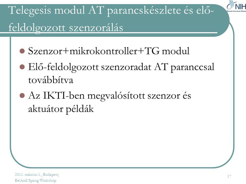 Telegesis modul AT parancskészlete és elő-feldolgozott szenzorálás
