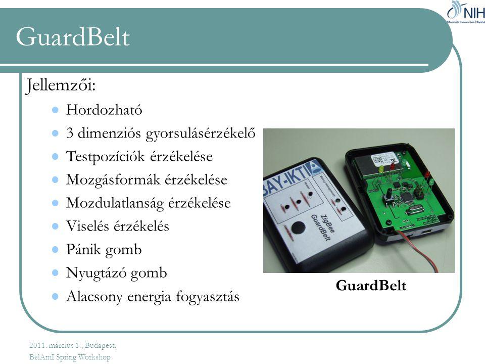 GuardBelt Jellemzői: Hordozható 3 dimenziós gyorsulásérzékelő