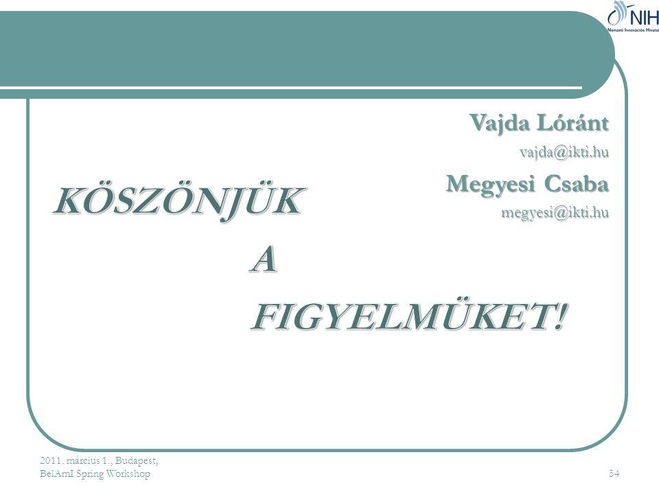 KÖSZÖNJÜK A FIGYELMÜKET! Vajda Lóránt Megyesi Csaba vajda@ikti.hu