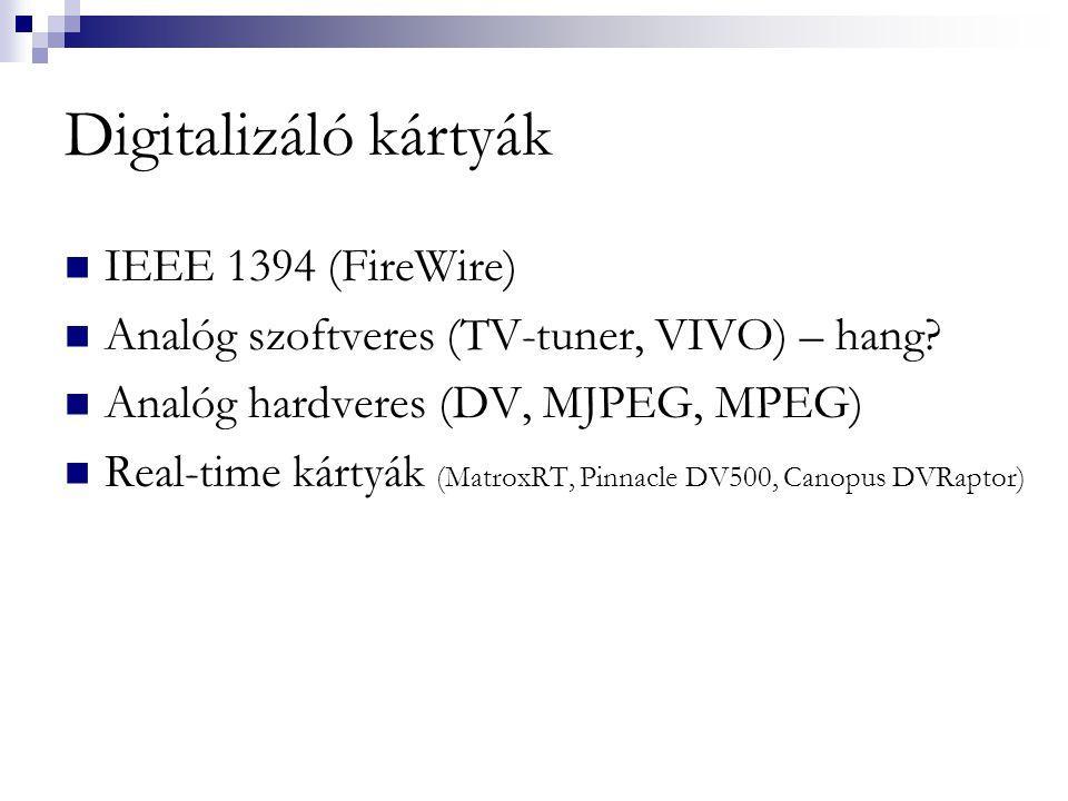 Digitalizáló kártyák IEEE 1394 (FireWire)