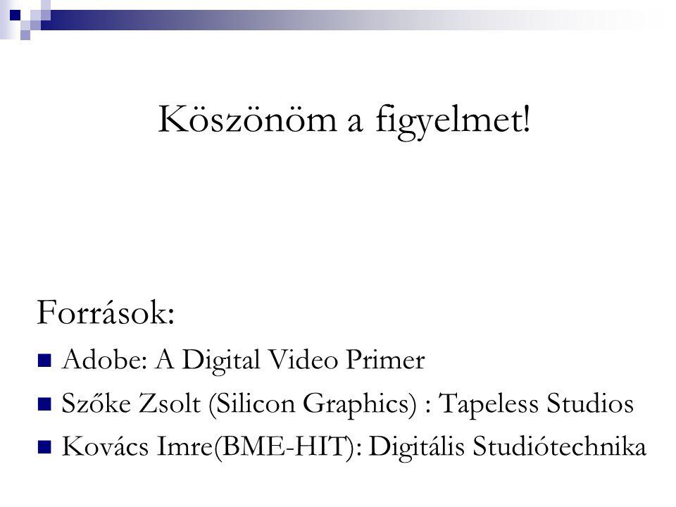 Köszönöm a figyelmet! Források: Adobe: A Digital Video Primer