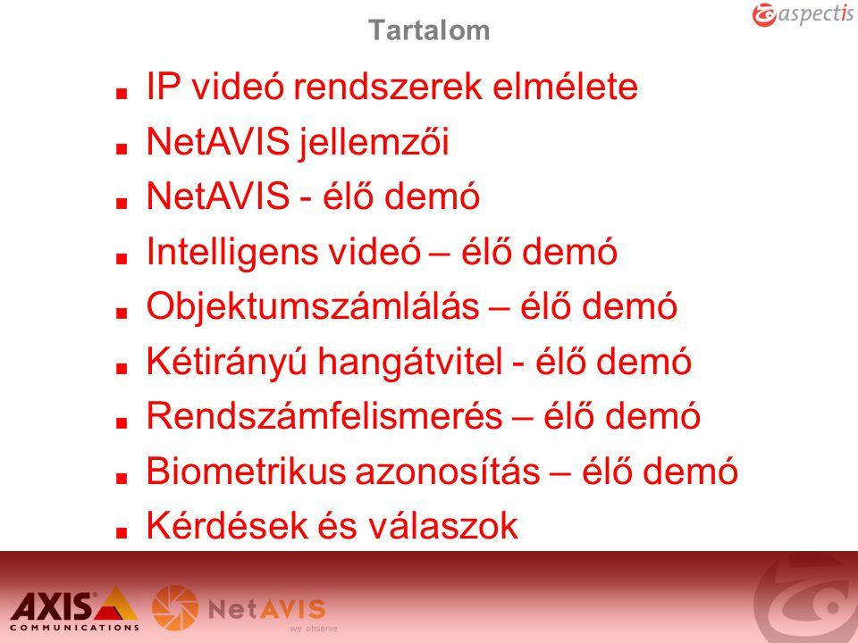 IP videó rendszerek elmélete NetAVIS jellemzői NetAVIS - élő demó