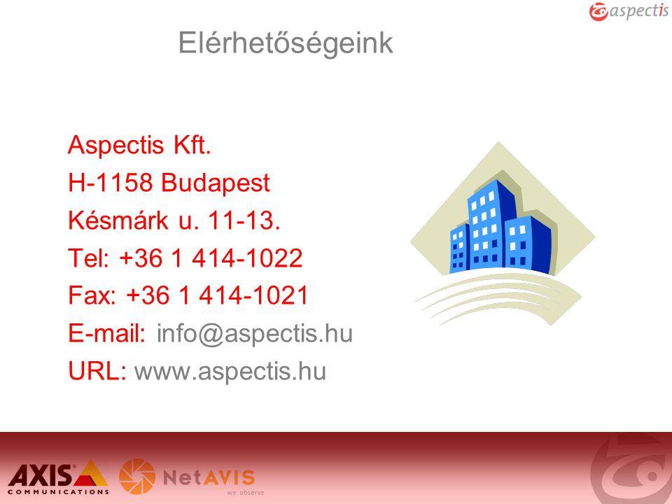 Elérhetőségeink Aspectis Kft. H-1158 Budapest Késmárk u. 11-13.