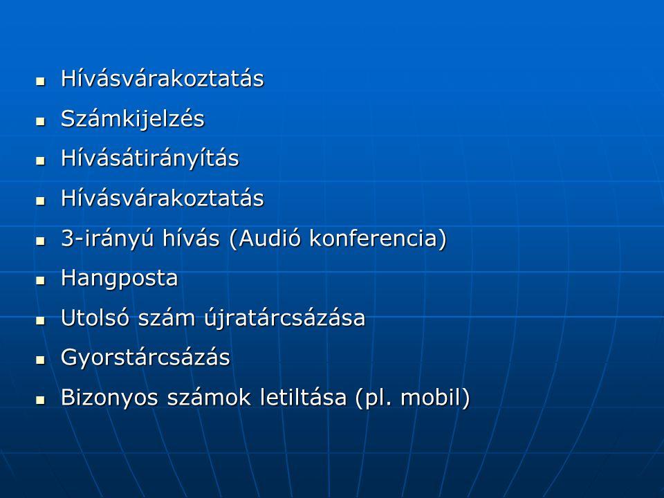 Hívásvárakoztatás Számkijelzés. Hívásátirányítás. 3-irányú hívás (Audió konferencia) Hangposta. Utolsó szám újratárcsázása.