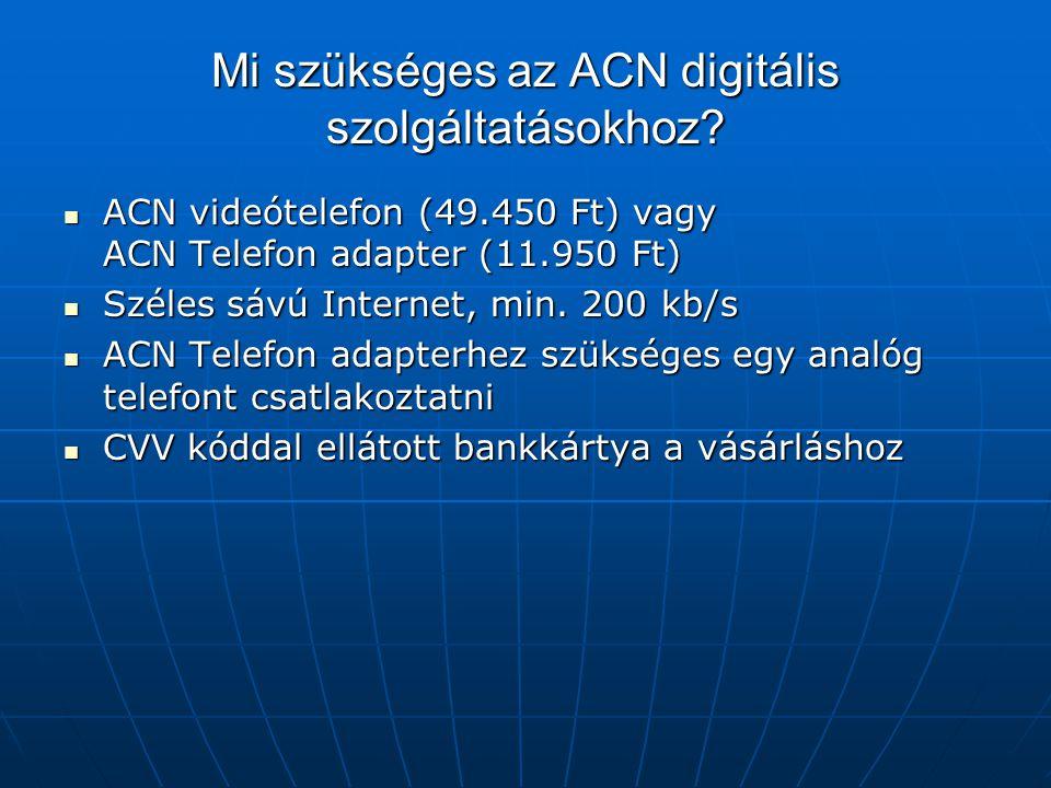 Mi szükséges az ACN digitális szolgáltatásokhoz