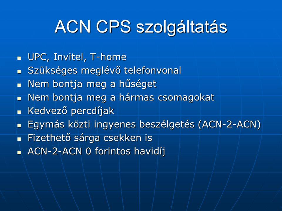 ACN CPS szolgáltatás UPC, Invitel, T-home