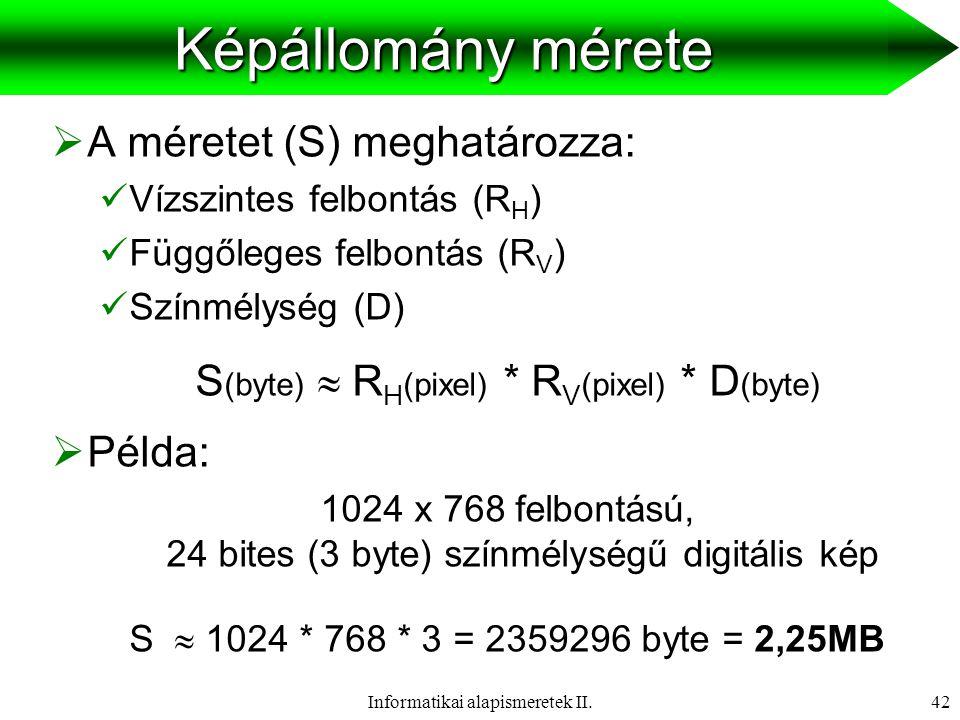 Képállomány mérete A méretet (S) meghatározza: