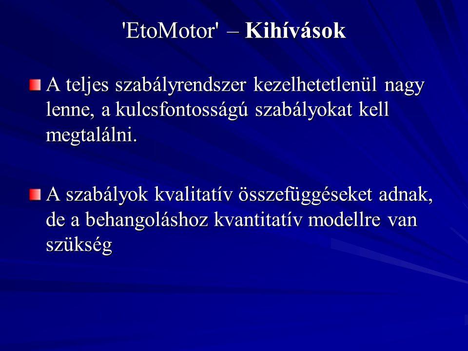 EtoMotor – Kihívások A teljes szabályrendszer kezelhetetlenül nagy lenne, a kulcsfontosságú szabályokat kell megtalálni.