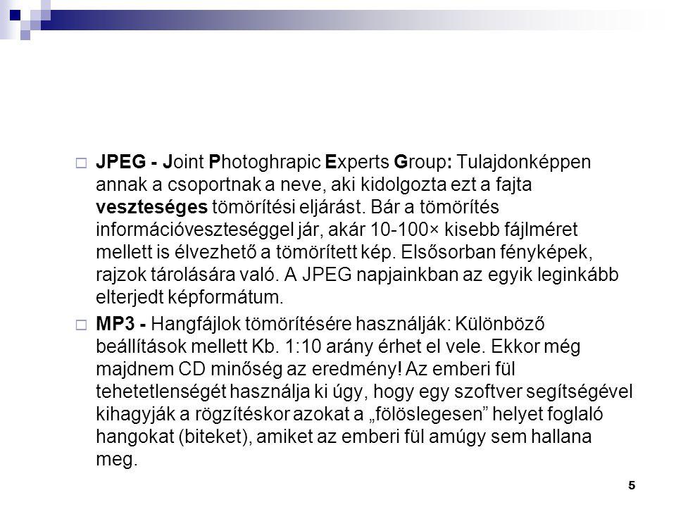 JPEG - Joint Photoghrapic Experts Group: Tulajdonképpen annak a csoportnak a neve, aki kidolgozta ezt a fajta veszteséges tömörítési eljárást. Bár a tömörítés információveszteséggel jár, akár 10-100× kisebb fájlméret mellett is élvezhető a tömörített kép. Elsősorban fényképek, rajzok tárolására való. A JPEG napjainkban az egyik leginkább elterjedt képformátum.
