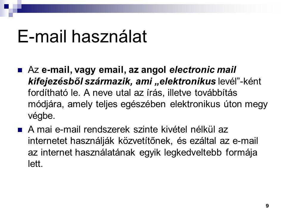 E-mail használat