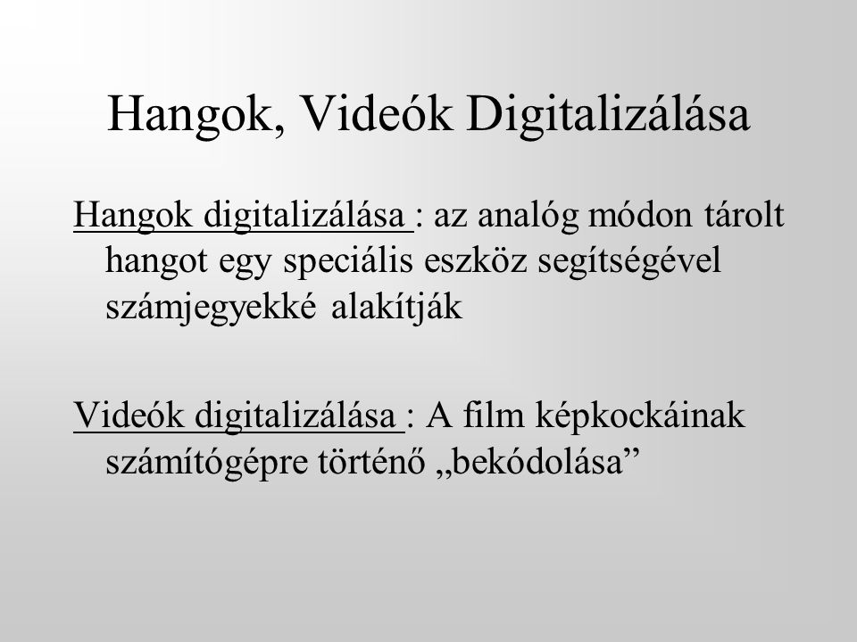 Hangok, Videók Digitalizálása