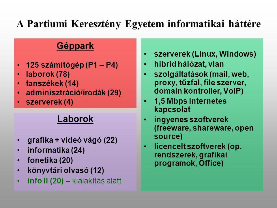 A Partiumi Keresztény Egyetem informatikai háttére