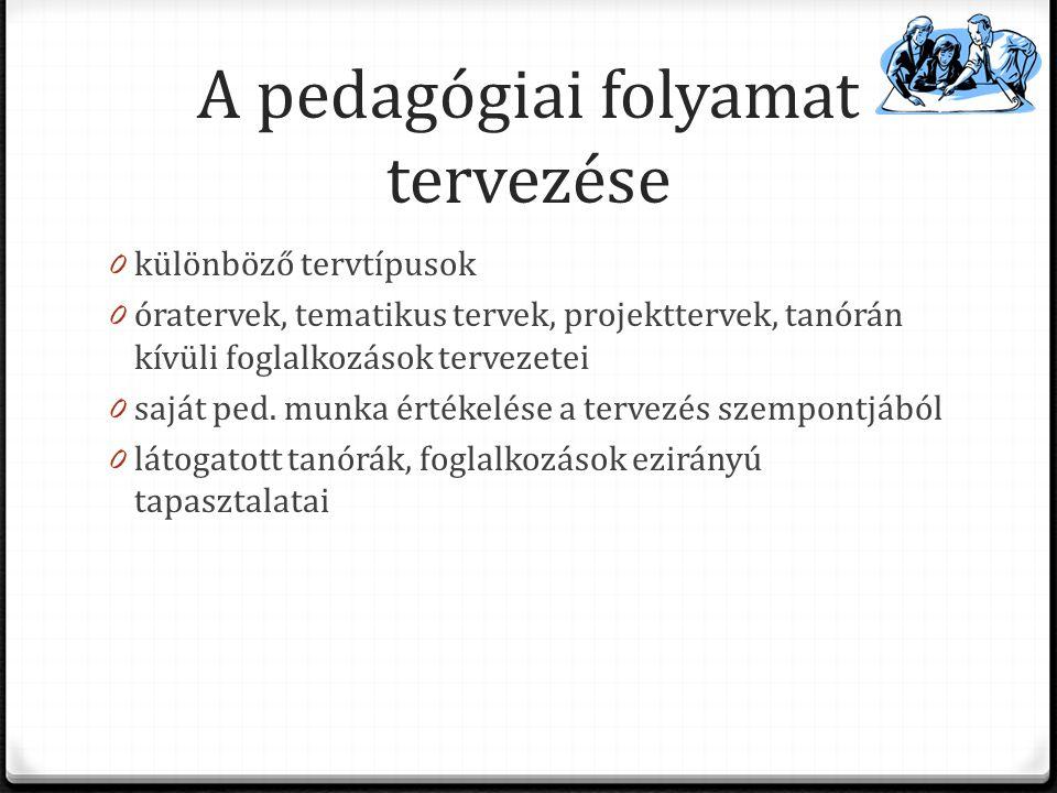 A pedagógiai folyamat tervezése