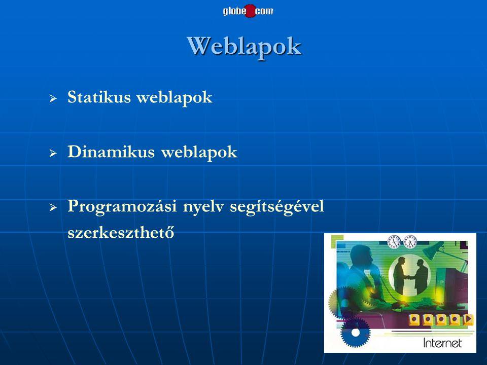 Weblapok Statikus weblapok Dinamikus weblapok