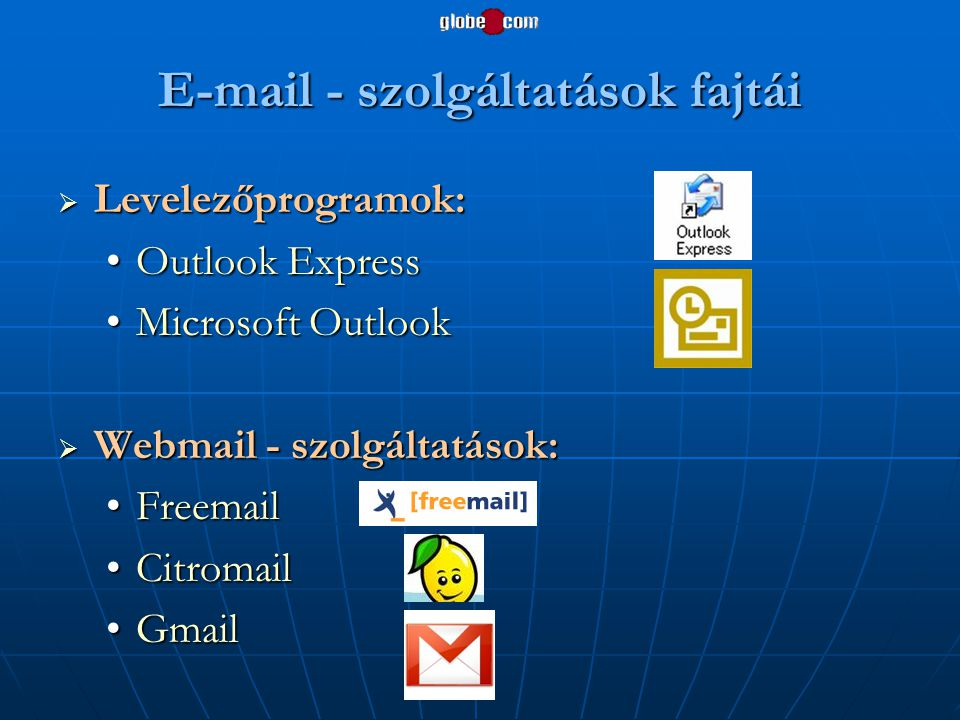 E-mail - szolgáltatások fajtái