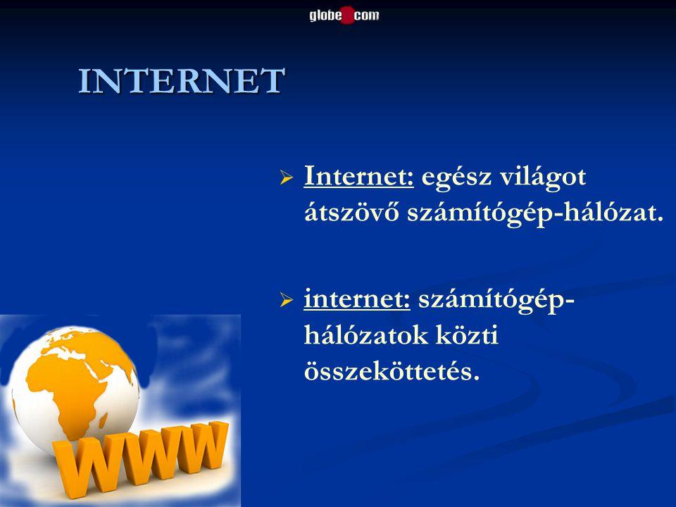 INTERNET Internet: egész világot átszövő számítógép-hálózat.