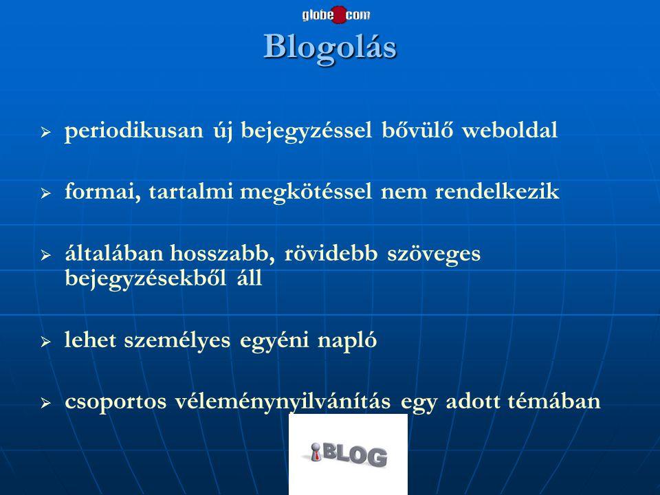 Blogolás periodikusan új bejegyzéssel bővülő weboldal