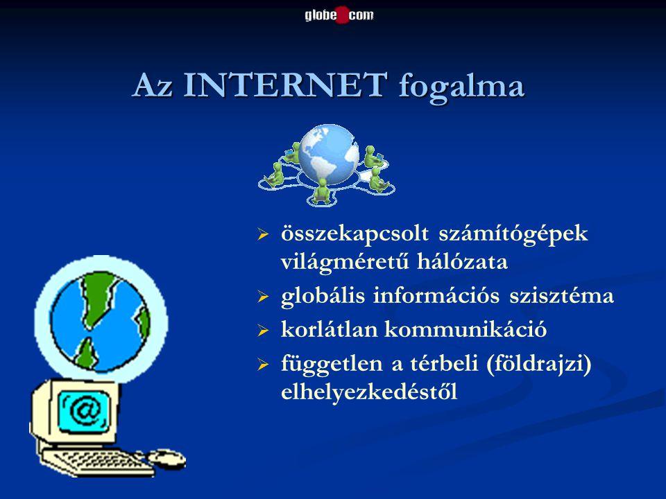 Az INTERNET fogalma összekapcsolt számítógépek világméretű hálózata