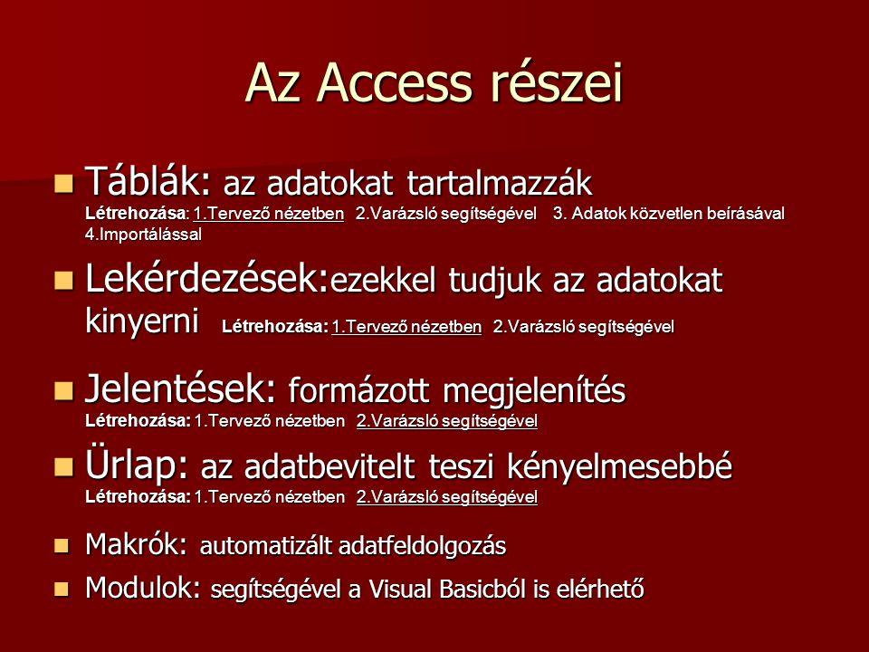 Az Access részei
