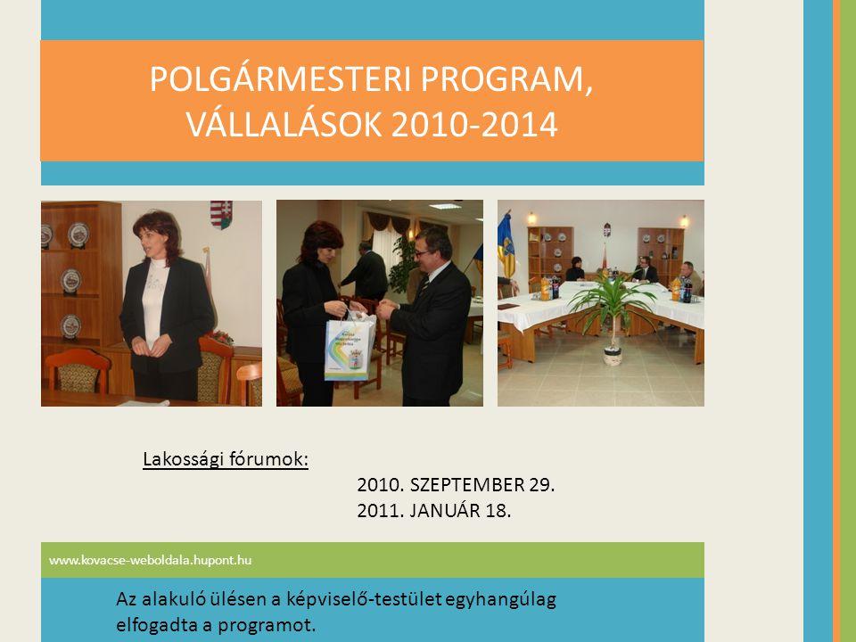 POLGÁRMESTERI PROGRAM, VÁLLALÁSOK 2010-2014