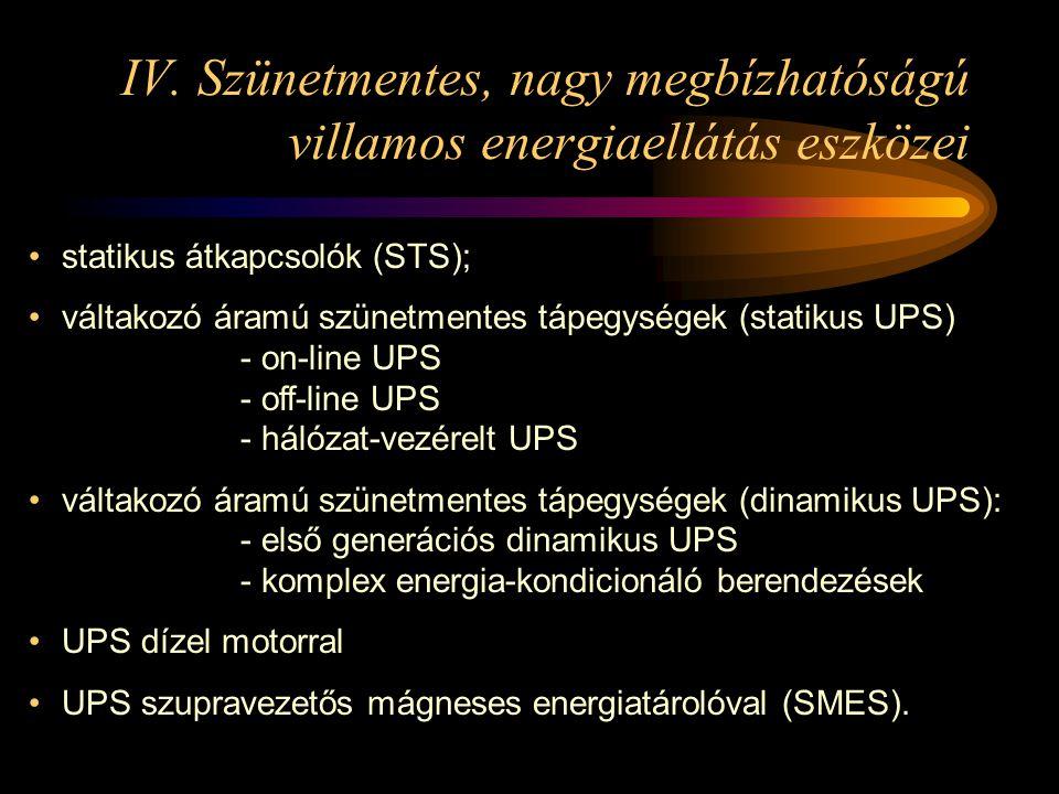 IV. Szünetmentes, nagy megbízhatóságú villamos energiaellátás eszközei