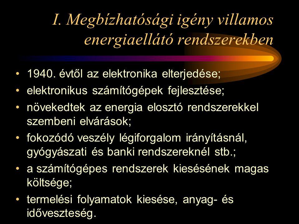 I. Megbízhatósági igény villamos energiaellátó rendszerekben