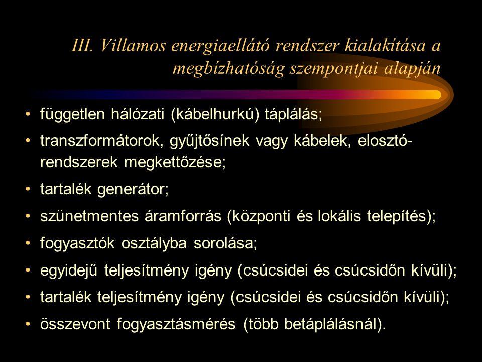 III. Villamos energiaellátó rendszer kialakítása a megbízhatóság szempontjai alapján