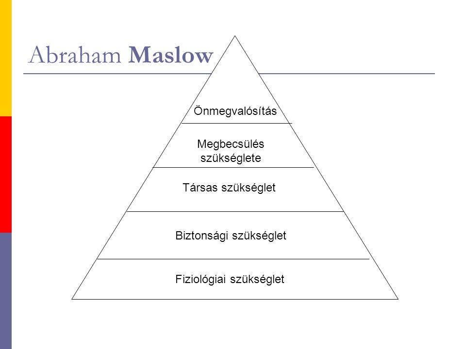 Abraham Maslow Önmegvalósítás Megbecsülés szükséglete